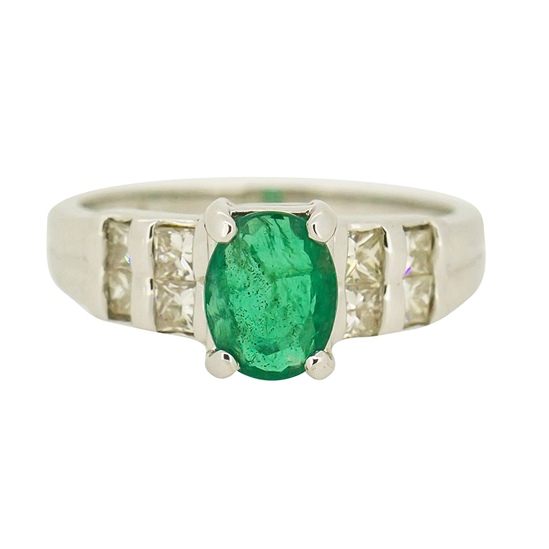 and ring round center engagement stones with cut white stone three diamond gold emerald in side