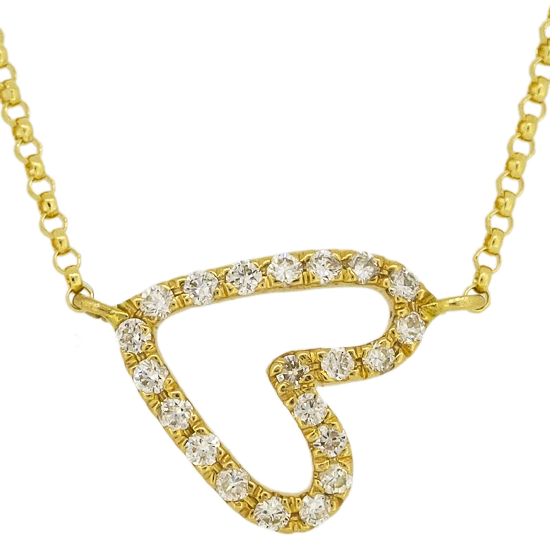 Heart shape diamond necklace in 18k yellow gold tala jewellery aloadofball Image collections